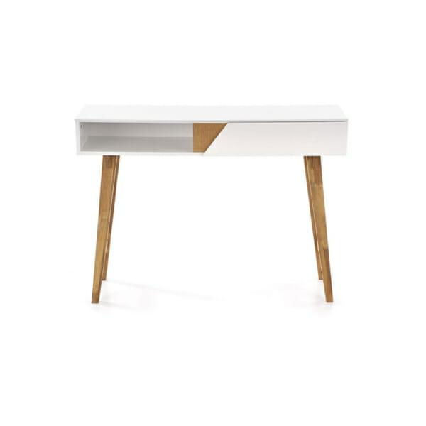 Бяла конзола маса с дървени бежови крака в скандинавски стил- отпред
