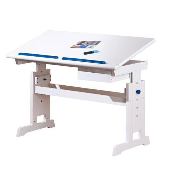 Бяло детско бюро с повдигащ механизъм и подвижен плот - за момче