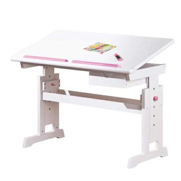 Бяло детско бюро с повдигащ механизъм и подвижен плот - за момиче