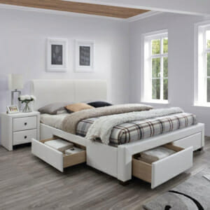 Бяло легло от еко кожа с 4 чекмеджета