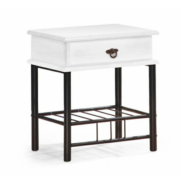 Бяло нощно шкафче от дърво и метал