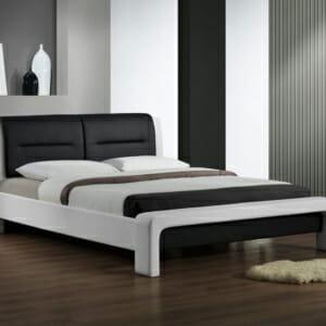 Черно-бяло легло тапицирано в еко кожа на крачета