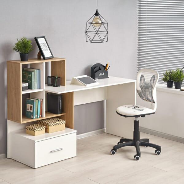 Дървено бюро за домашен офис в бяло и цвят дъб с мини секция