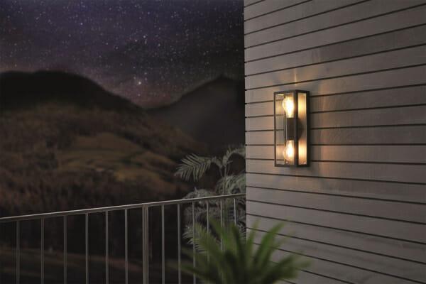 Двоен външен аплик като стъклена кутия Alamonte 1 - светнат