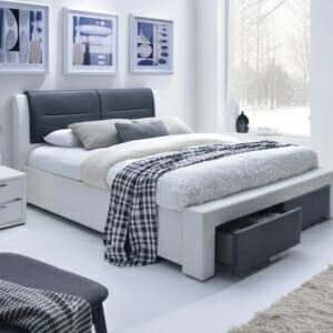 Двуцветно тапицирано с еко кожа легло с 2 чекмеджета-сиво-бял цвят