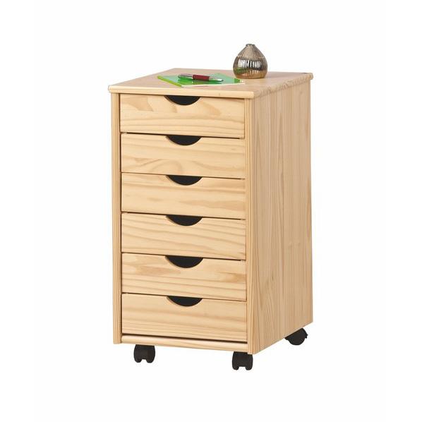 Дървен контейнер на колелца с 6 чекмеджета