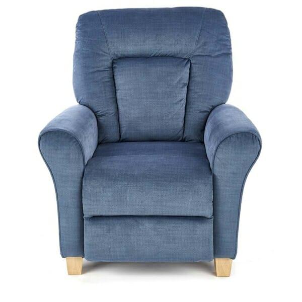 Фотьойл с релакс механизъм от дърво и текстил в син цвят - отпред