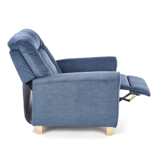 Фотьойл с релакс механизъм от дърво и текстил в тъмносин цвят - разтегнат