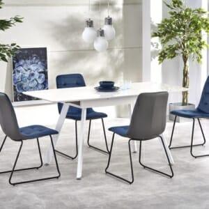 Функционална разтегателна маса за трапезария в бял цвят
