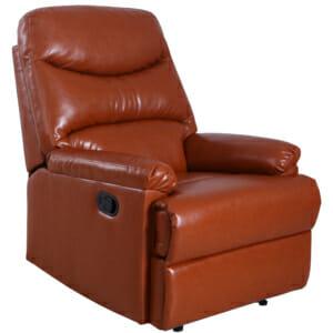 Кафяв фотьойл от стилна еко кожа с релакс механизъм