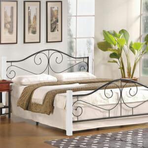 Класическо легло с дървени крачета и метална рамка (2 цвята, 3 размера) -бяло