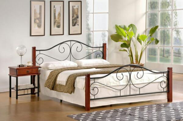Класическо легло с дървени крачета и метална рамка (2 цвята, 3 размера) -череша