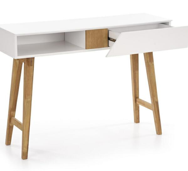 Бяла конзолна маса с дървени крака в скандинавски стил