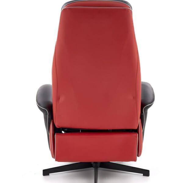 Кожено кресло с релакс механизъм и спортна визия - в гръб