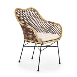 Красив стол от ратан с седалка и подлакътници