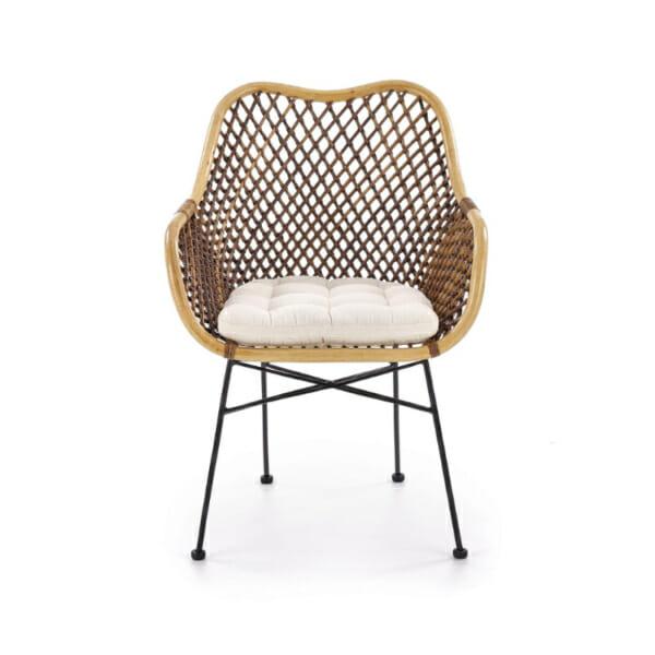 Красив стол от ратан с седалка и подлакътници - отпред