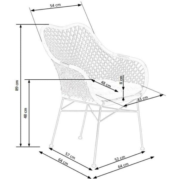 Красив стол от ратан с седалка и подлакътници - схема