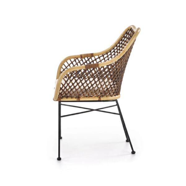 Красив стол от ратан с седалка и подлакътници - странично