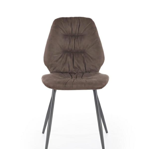 Красив трапезен стол с метални крака и дамаска (2 цвята) - отпред