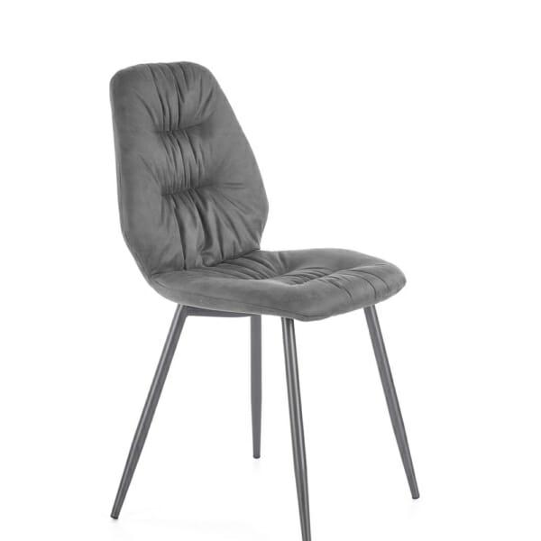 Красив трапезен стол с метални крака и дамаска (2 цвята) - сиво