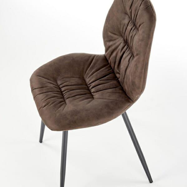 Красив трапезен стол с метални крака и дамаска (2 цвята) - встрани