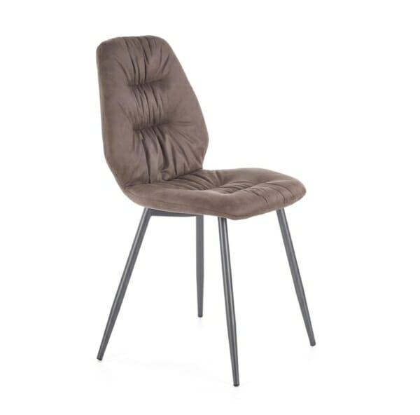 Красив трапезен стол с метални крака и дамаска (2 цвята) - заглавна