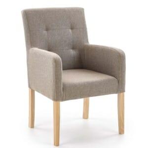 Кресло от дърво и дамаска в светли тонове