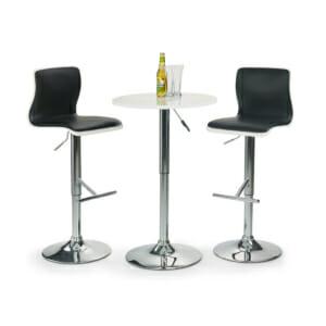 Кръгла бар маса с повдигащ механизъм (2 цвята) - бяла