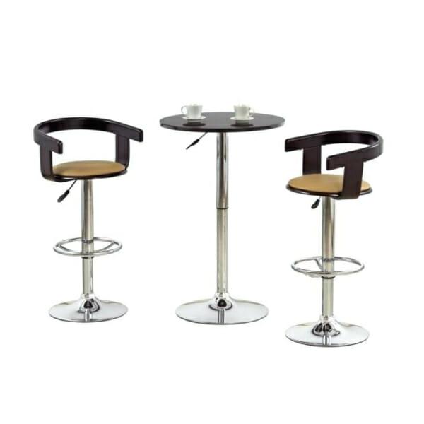 Кръгла бар маса с повдигащ механизъм (2 цвята) - черна