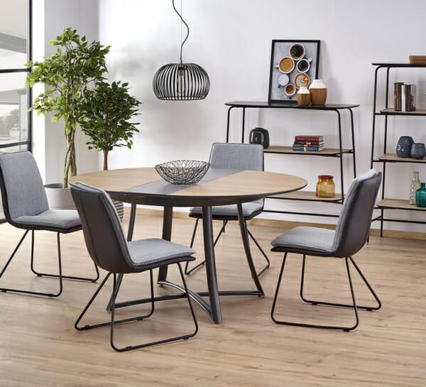 Кръгла разтегателна маса с метална основа - и столове
