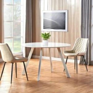 Кръгла трапезна маса с метални крака в бял цвят