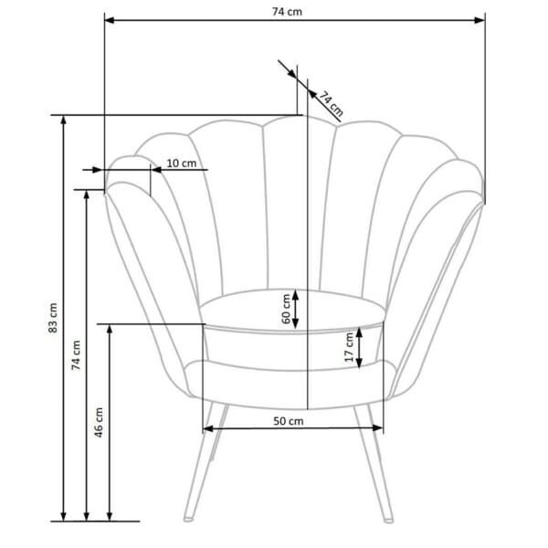 Луксозно кресло с подлакътници във формата на морска мида - схема