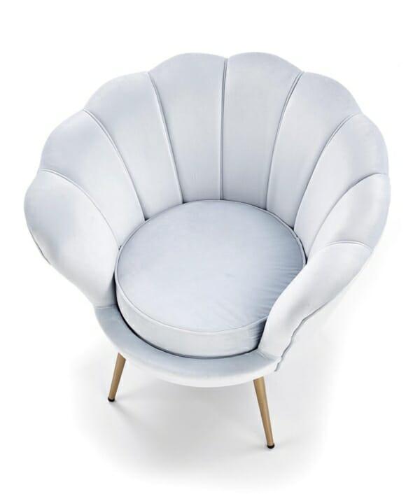 Луксозно кресло с подлакътници във формата на мида (2 цвята) - отгоре
