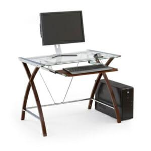 Луксозно работно бюро със стъклен плот и конструкция в цвят венге