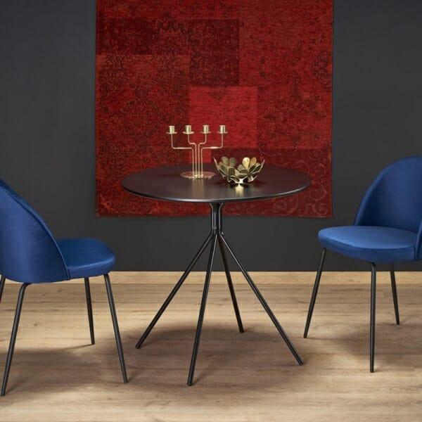 Малка кръгла маса за трапезария в черен цвят - интериорна