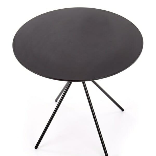 Малка кръгла маса за трапезария в черен цвят - отгоре