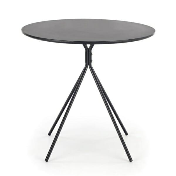 Малка кръгла маса за трапезария в черен цвят - вид отпред