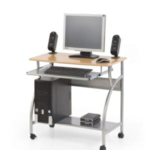Метално бюро на колелца с дървен плот