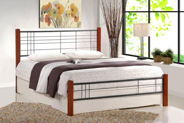 Метално легло с дървени крачета в индустриален стил (2цвята, 3 размера) -череша и черно