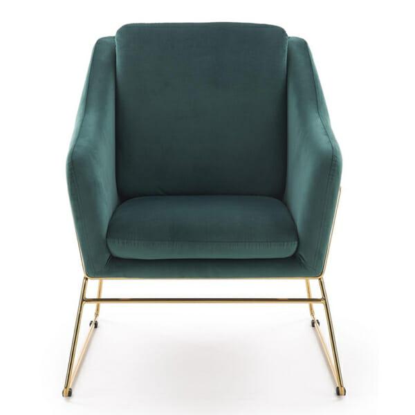 Модерно кресло в тъмнозелено и златно - отпред