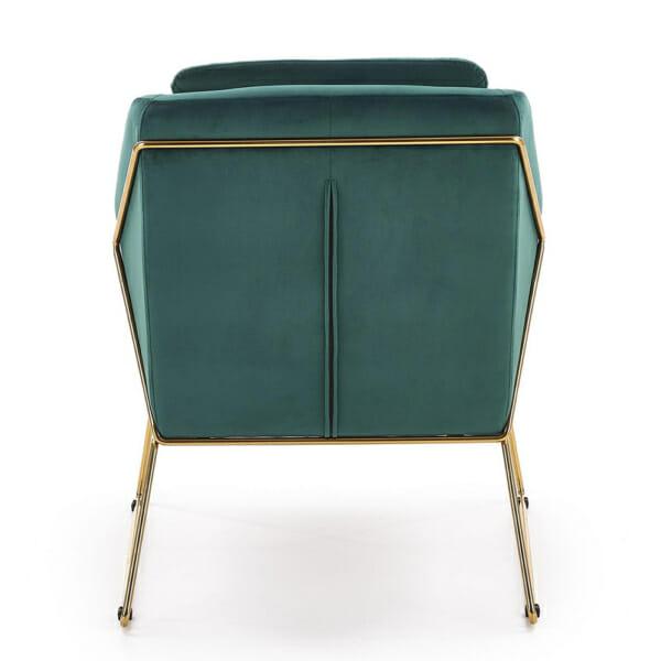 Модерно кресло в тъмнозелено и златно - отзад