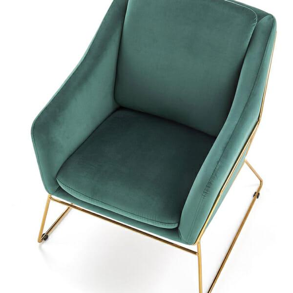 Модерно кресло в тъмнозелено и златно - отгоре