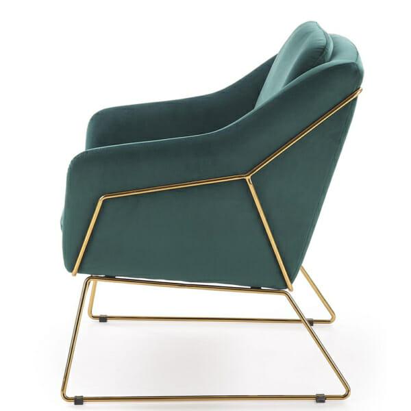Модерно кресло в тъмнозелено и златно - отстрани
