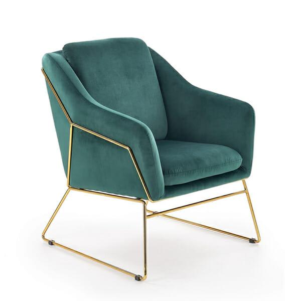 Модерно кресло в тъмнозелено и златно