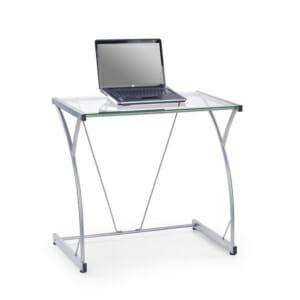 Модерно метално бюро със стъклен плот
