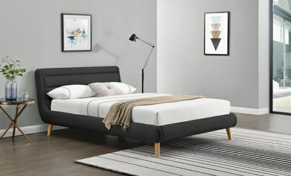 Модерно тапицирано легло на крачета-тъмносив цвят