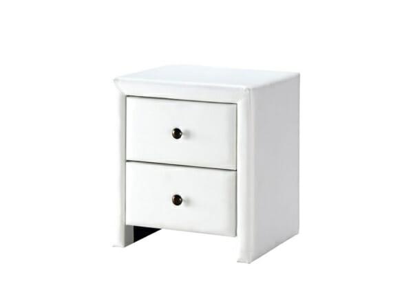 Нощно шкафче тапицирано в еко кожа с 2 чекмеджета - бял цвят