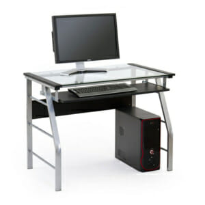 Офис бюро със стъклен плот в цвят черно и сиво