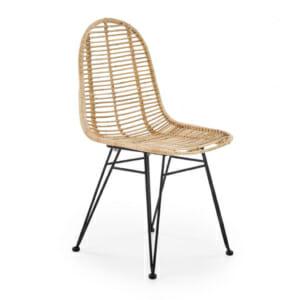 Плетен ратанов стол с метални крака