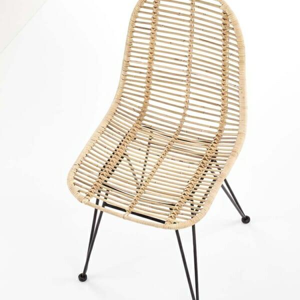 Плетен ратанов стол с метални крака - отгоре